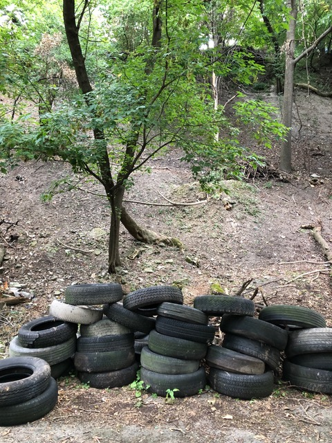 Some of the tires that once occupied the steep hillside. Most of the hill is now ready for the land surveyor now that the  debris is removed.
