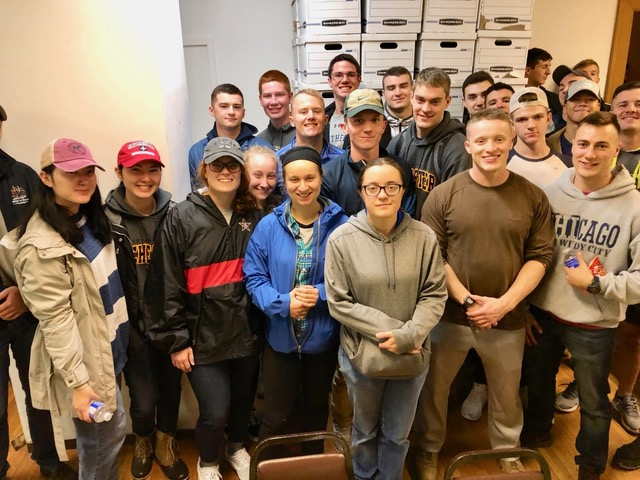 Combined NROTC members from local colleges helped at the new REACH home at 720 West Main on Wednesday afternoon October 16, 2019. Over twenty members participated.