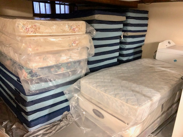 Thirty mattresses were brought from last year's shelter and unneeded queen-sized mattresses were moved to the basement at 720 West Main.