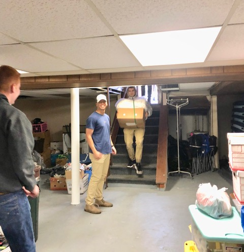 Moving boxes from last year's shelter to the new REACH Home at 720 West Main.