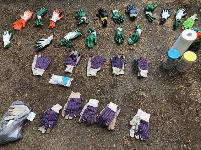 Variety of work gloves; hand-cleaning materials, mosquito repellant and sunscreen