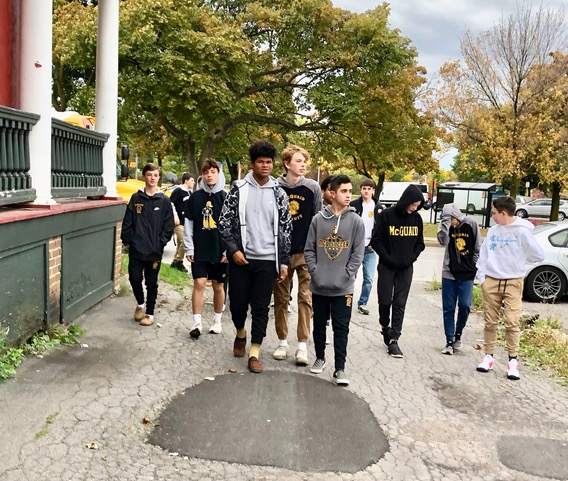 McQuaid freshmen arrive at Dimitri House. This is the sixth time that McQuaid volunteers have helped REACH at the 59 Ontario Street emergency shelter and then at REACH Home at Dimitri House. They prepared the way for the new REACH Home at 720 West Main.